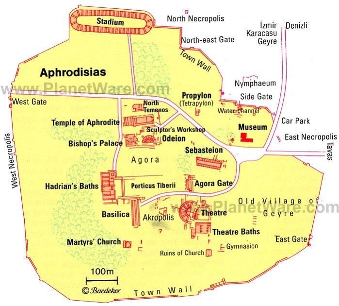 Aphrodisias Karte - Sehenswürdigkeiten